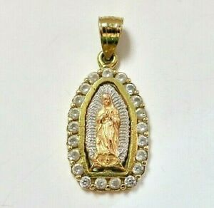 Beautiful Real 10K Multi-color Gold Medallion Pendant w/Lady of Guadalupe & CZ