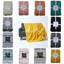 100% Cotton Plain Throw Honeycomb Sofa Bed Chair Cover Throws Tasseled Decorativ