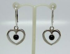 Hand set round Whitby Jet in 925 Sterling Silver Heart shaped Drop Earrings