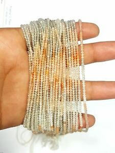 AAA MULTI MOONSTONE RONDELLE FACETED BEADS 2 MM, 13 INCH LONG 2 STRAND LOT