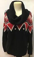 Lauren Ralph Lauren Black Red Southwest Aztec Geometric Cowl Neck Sweater Size L
