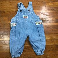 Vintage OshKosh B'Gosh Infant Denim Overall Bib Teddy Bear 6 9 Months Pants Baby