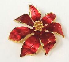 Vintage Cerrito Signed Christmas Brooch Poinsetta Flower Red