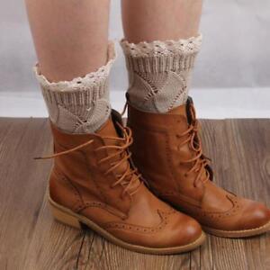 Women Girl Crochet Knitted Lace Trim Boot Cuffs Toppers Leg Warmers Socks YG