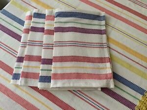 ISAAC MIZRAHI Spring rainbow stripe 20 x 20  Napkins  set of 4 NEW