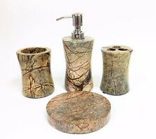 NEW 4 PC SET BROWN,TAN,BEIGE MARBLE SOAP DISPENSER+TUMBLER+DISH+TOOTHBRUSH INDIA