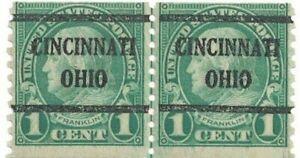 1923 1¢ Franklin Joint Line Pair of MNH Stamps w Cincinnati, Ohio Precancel #597