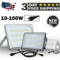 10W-100W LED Flood Light Outdoor Lamp Yard Security Landscape Spotlight US Plug