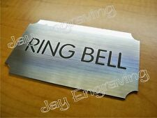 Engraved RING BELL 3x5 Silver Door Sign ~ Home Office Small Business Plaque Sign