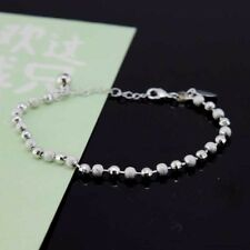 "18k White Gold Filled Bracelet 8""Chain Link 3mm Beads Dangle GF Fashion Jewelry"
