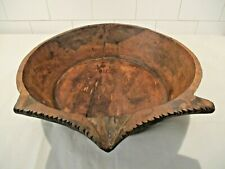 Antique Primitive Hand Hewn Wooden Trench Dough Bowl