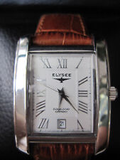 New Ladies Elysee 28307 Silver Dial Brown Leather Strap Classic Watch