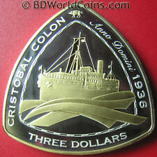 """2007 BERMUDA $3 SILVER PROOF GOLD GILT """"CRISTOBAL COLON"""" 1936 SHIPWRECK COA RARE"""