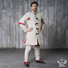 White color Cotton Medieval Gambeson  full Padded Sleeves Armor reenactment