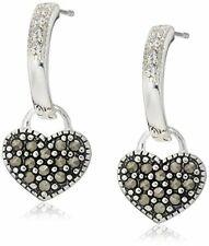 Sterling Silver Marcasite Heart Drop Earrings