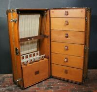 Antique Louis Vuitton Luxury Vuittonite & Leather Wardrobe Trunk