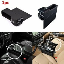 PU Car Left Seat Use Catcher Gap Filler Storage Box Cup Holder Coin Collector