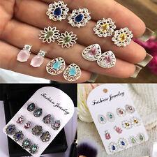 6Pairs/Set Boho Women Rhinestone Crystal Earrings Drop Ear Stud Earrings Jewelry