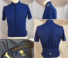 Descente Cycling Jersey Small Blue Poly Lycra Full Zip SS Mint YGI 5525