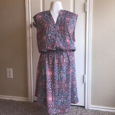 NWT Gap Paisley Print Sleeveless Drawstring Button Up Front Dress Red Blue White