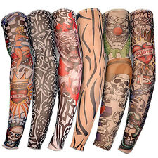 Pack of 6pcs Nylon Stretch Costume Fake Tattoo Sleeve Arm Stocking Fancy Dress