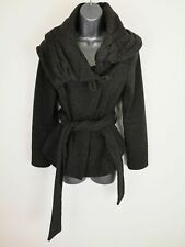 WOMENS ZARA GREY TRENCH MAC BELTED SINGLE BREAST BUTTON COAT JACKET SIZE LARGE L