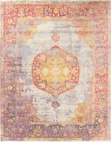 Geometric Oriental Vintage Style Heat-Set Turkish Distressed Design Area Rug