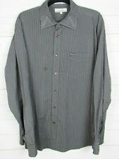 Faconnable Mens Long Sleeve Brown & Black Striped Button Up Shirt Size XL W917