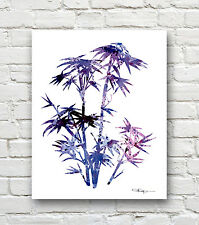Bamboo Abstract Watercolor Painting Art Print by Artist DJ Rogers
