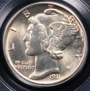 1931 D MERCURY DIME PCGS MS64 FULL BANDS VANILLA WHITE SURFACES LOOK NEARLY GEM