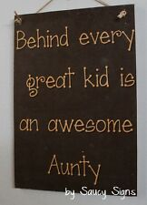 Awesome Aunty Shabby Rustic Chic Aunt Sister Country Wooden Kids Wall Gift Sign