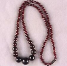 5-11mm 100% Real Natural Garnet Gemstone Round Beads Necklaces 18""