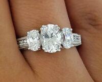 3 Stone 2 CT Oval Diamond Engagement Wedding Anniversary Ring 14k White Gold