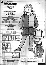 ▬► Patron Couture Modes et Travaux Veste Cardigan short 6 - 8 - 10 ans Août 1991