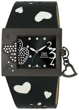 Q&Q by Citizen KW87J522Y Heart Shaped Accent Black Women's Watch ~ GREAT GIFT
