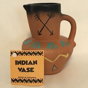 "Dobe Of Arizona Indian Pottery Vase Pitcher Brown Black Crossed Arrows 4.5""  C18"