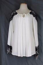 ALFANI Blouse Veiled Jewels 8 MEDIUM Ivory Black Lace Pleated Tunic Top Flowing