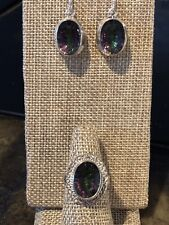 Gorgeous Set Of Oval Shape Mystic Topaz Ring/Earrings & 925 Sterling Silver