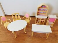 Barbie Mattel 1990s Dream House Furniture Vintage Chair and Kitchen Set