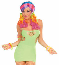 Club Candy Neon Green Fishnet Sweetheart Dress Adult Women's Halloween Costume