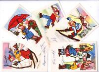 """ART DÉCO SERIE DE 5 CARTES POSTALES ANCIENNES """"JOYEUX NOEL"""" superbes !"""