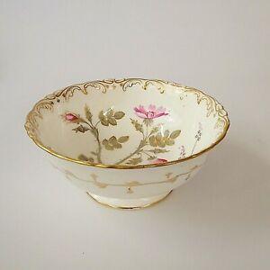 Antique Coalport Footed Slop Bowl Pink and Gold Pattern 128 Artist J Pattern