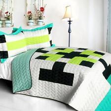 3 Pc Tetris C Vermicelli Queen Quilt Shams geometric green blue