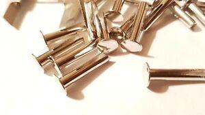 "No 9 x 3/4"" Bifurcated Rivets Mild Steel Split Leg Nickel Plated Metalwork"
