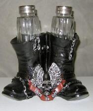 BORN TO RIDE MOTORCYCLE BOOTS SALT & PEPPER SHAKER & HOLDER - TEA LIGHT HOLDER