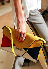 New CELINE Colorblock  LEATHER & SUEDE ENVELOPE CLUTCH Shoulder BAG $2450