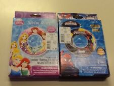 Swim Rings Disney Princesses & SPIDERMAN 20 In Inflates To 17.5 In
