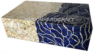 6'x4' Wodden Bed Lapis Mother of Pearl Marquetry Inlay Handmade Home Deco E1259