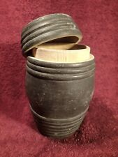 early 1900 ANTIQUE VINTAGE HANDCARVED BARREL SHAPE WOOD BOX with LID SCANDINAVIA