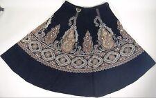 Angie Corduroy Skirt Paisley Sequin HIppie Gypsy Rockabilly Boho Funky M 10